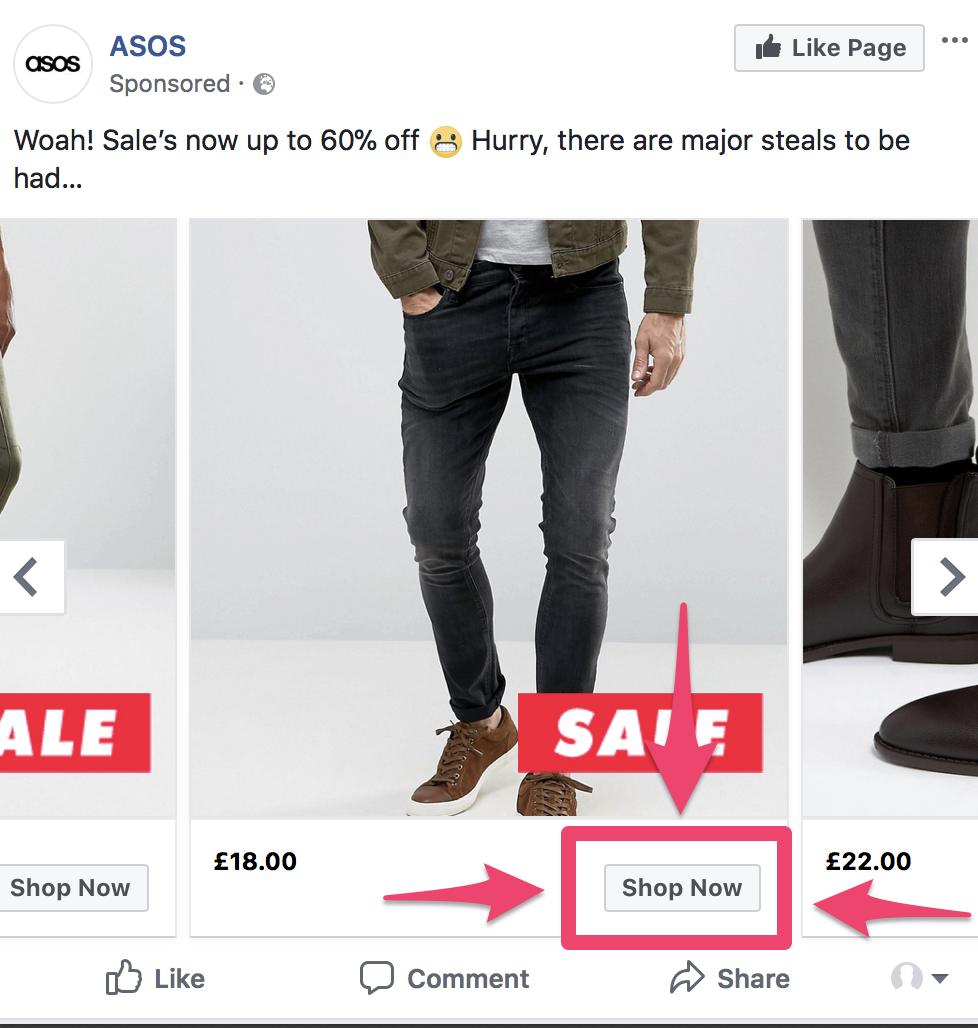 facebook ads split test call to action
