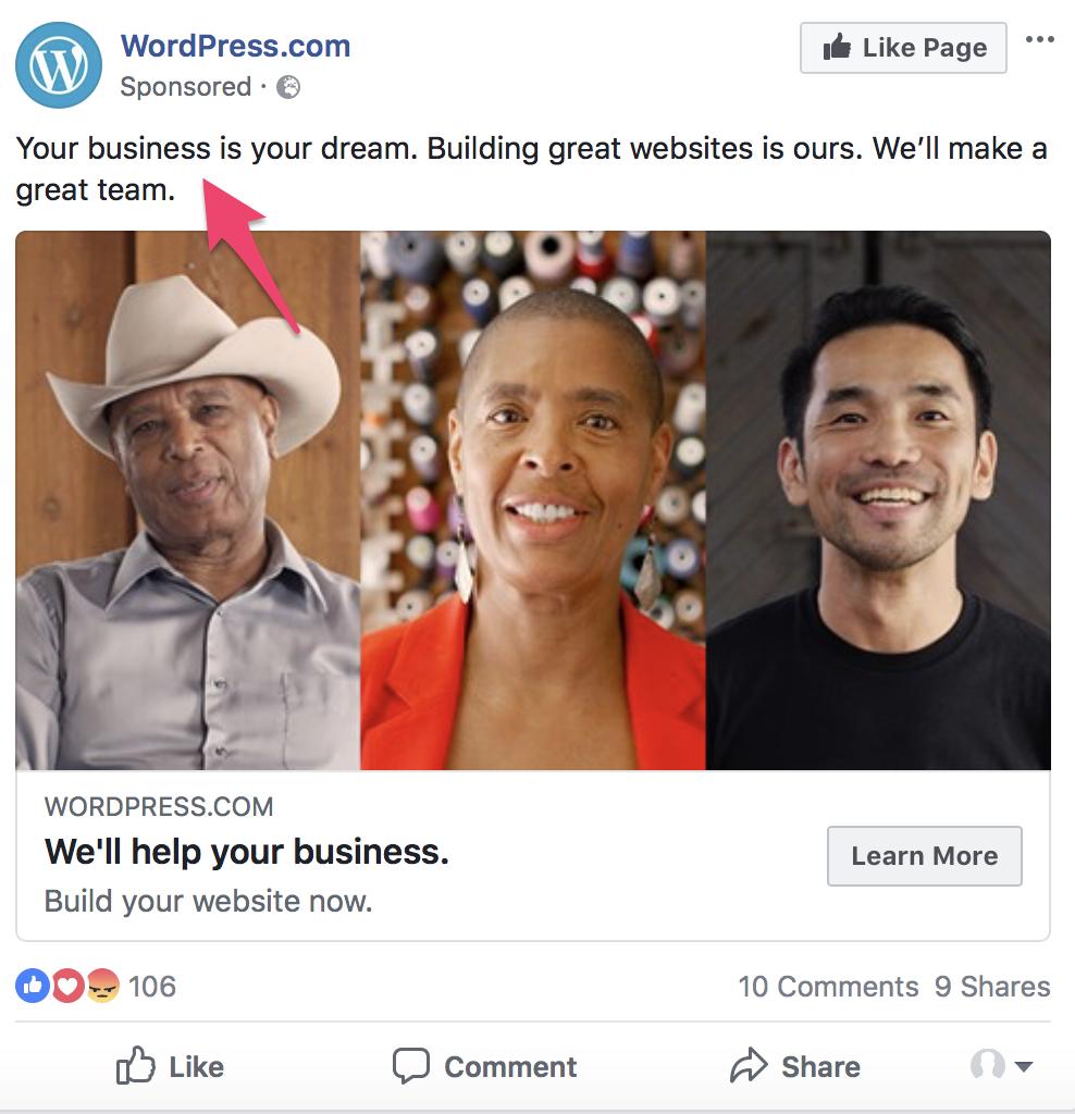 facebook ads split test copy style