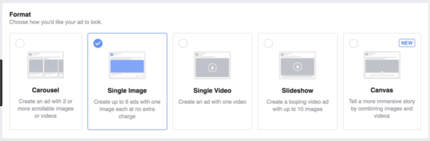 facebook ads split test ad type