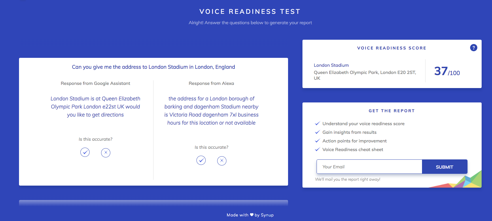 synup voice readiness test