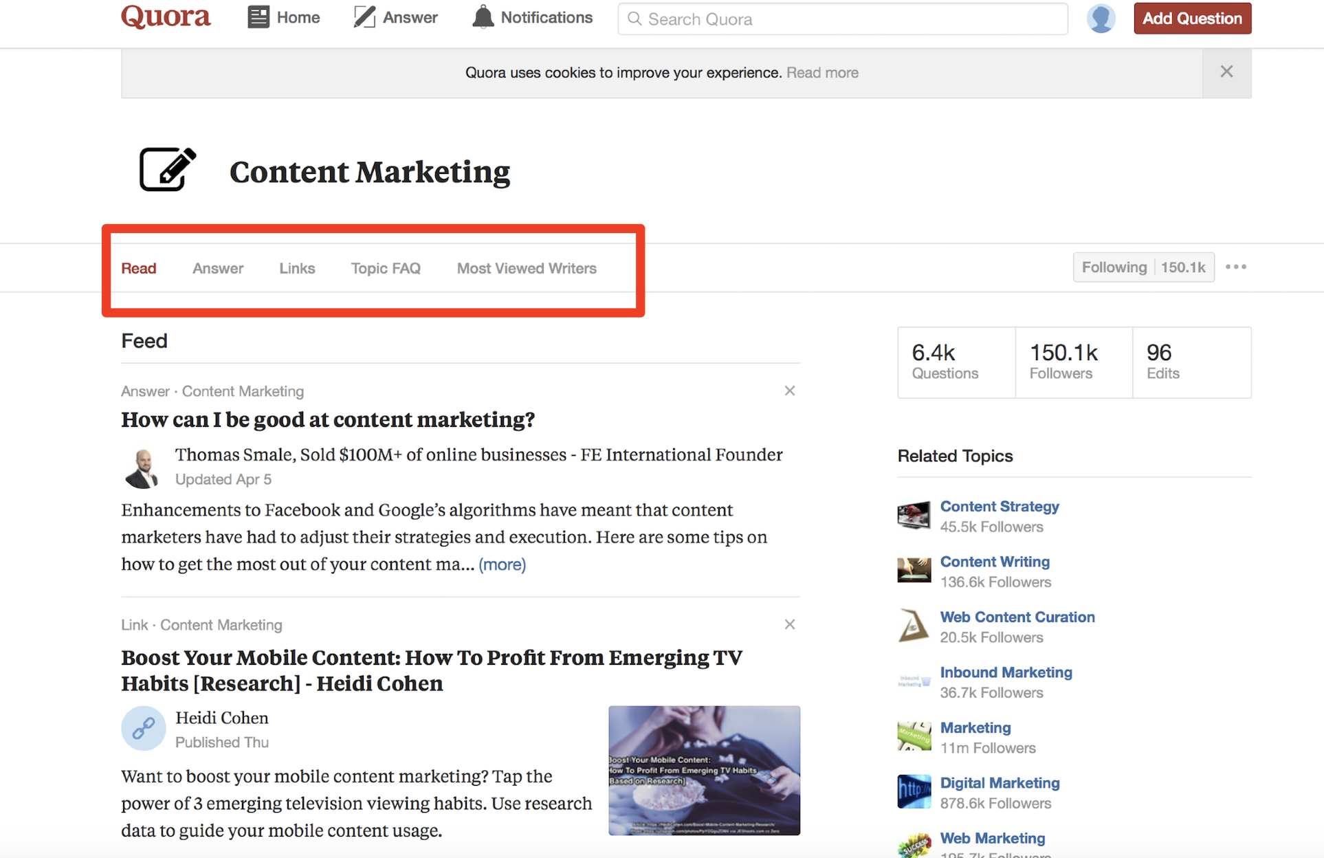 blog ideas content marketing quora