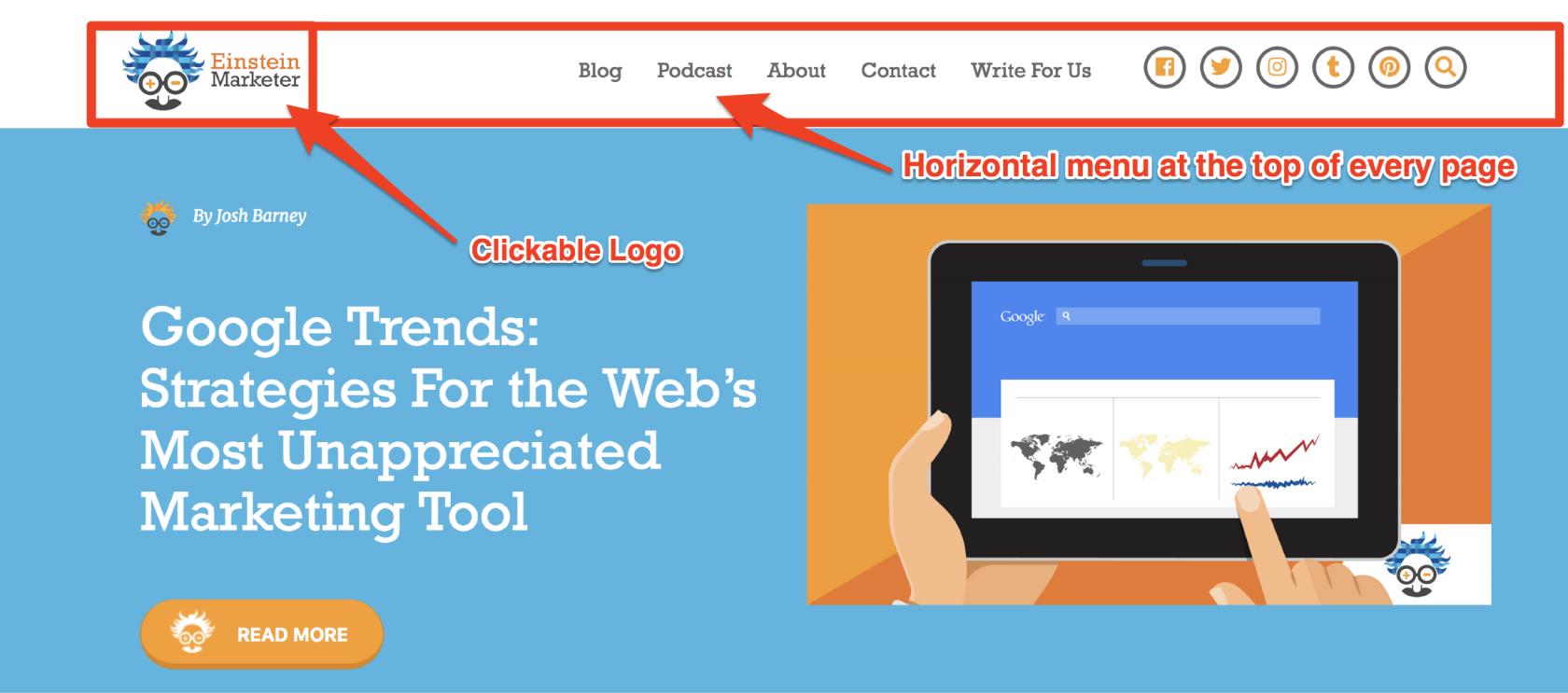 digital karma website page navigation
