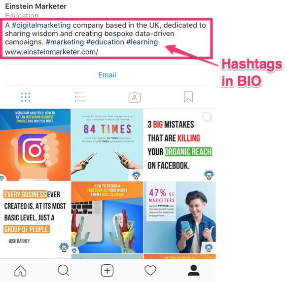 instagram hashtags bio
