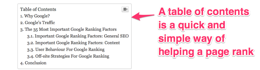 google ranking factors table of contents