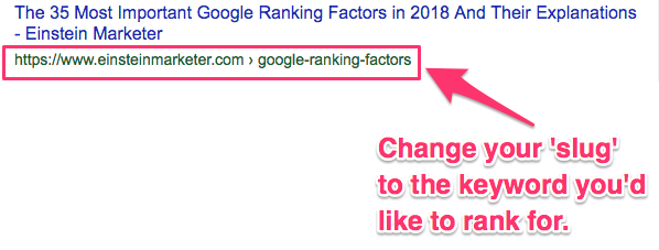 google ranking factors url slug