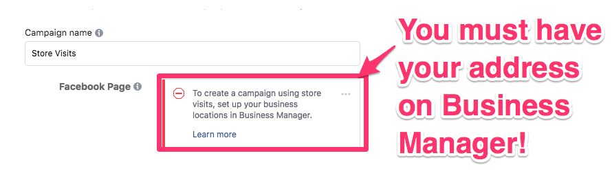 facebook ad campaign objectives store visits