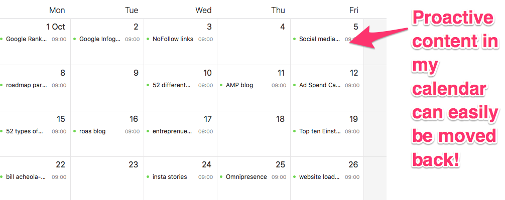 reactive content marketing content calendar